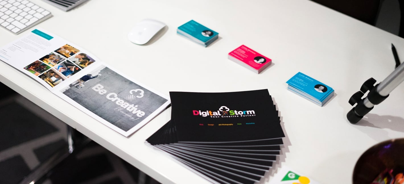 Exhibition stand of digital storm with business cards & brochures