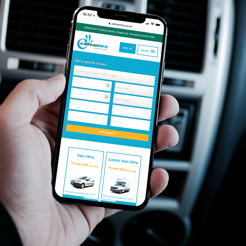 callvan hire contact form on an iPhone