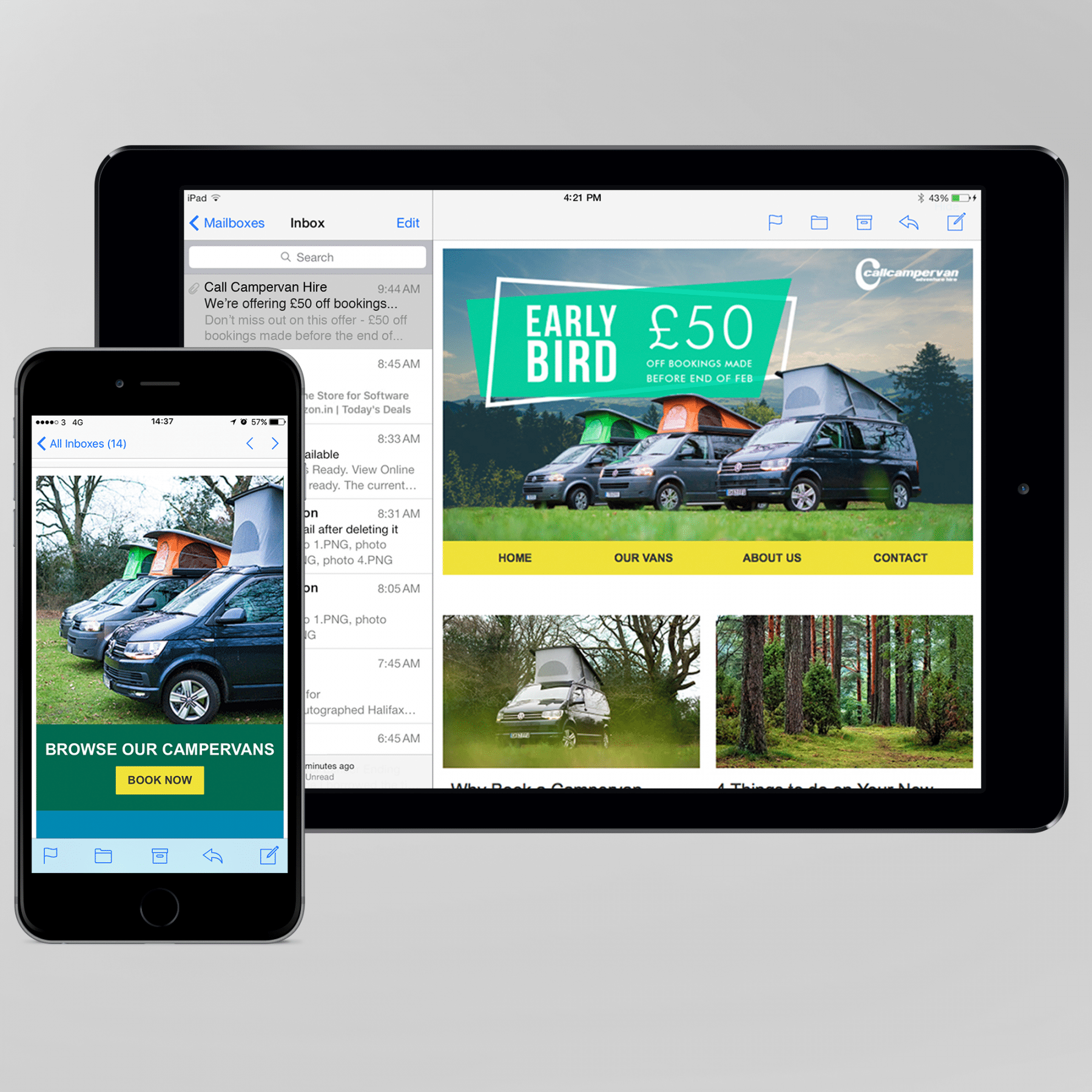 Call Campervan Hire email design on iPhone and iPad